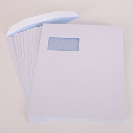 310x238mm white window gummed pocket envelopes (Pack of 1,000)