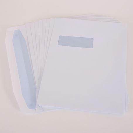C4 white window gummed mailing wallet envelopes (Pack of 1,000)