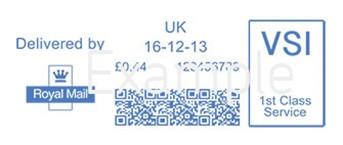 Royal Mail Mailmark franking indicia