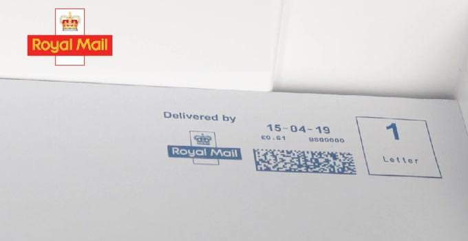 Franked mail envelope